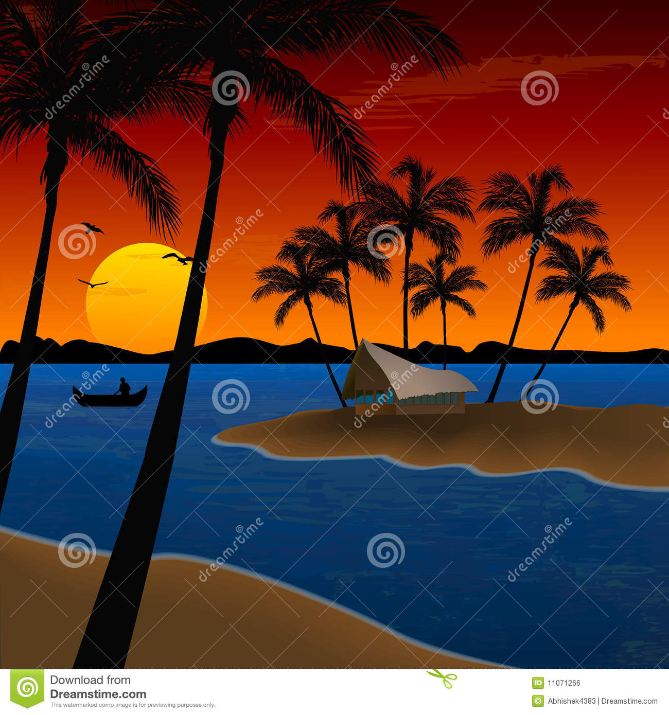 Landscape of beach with coconut trees, hut