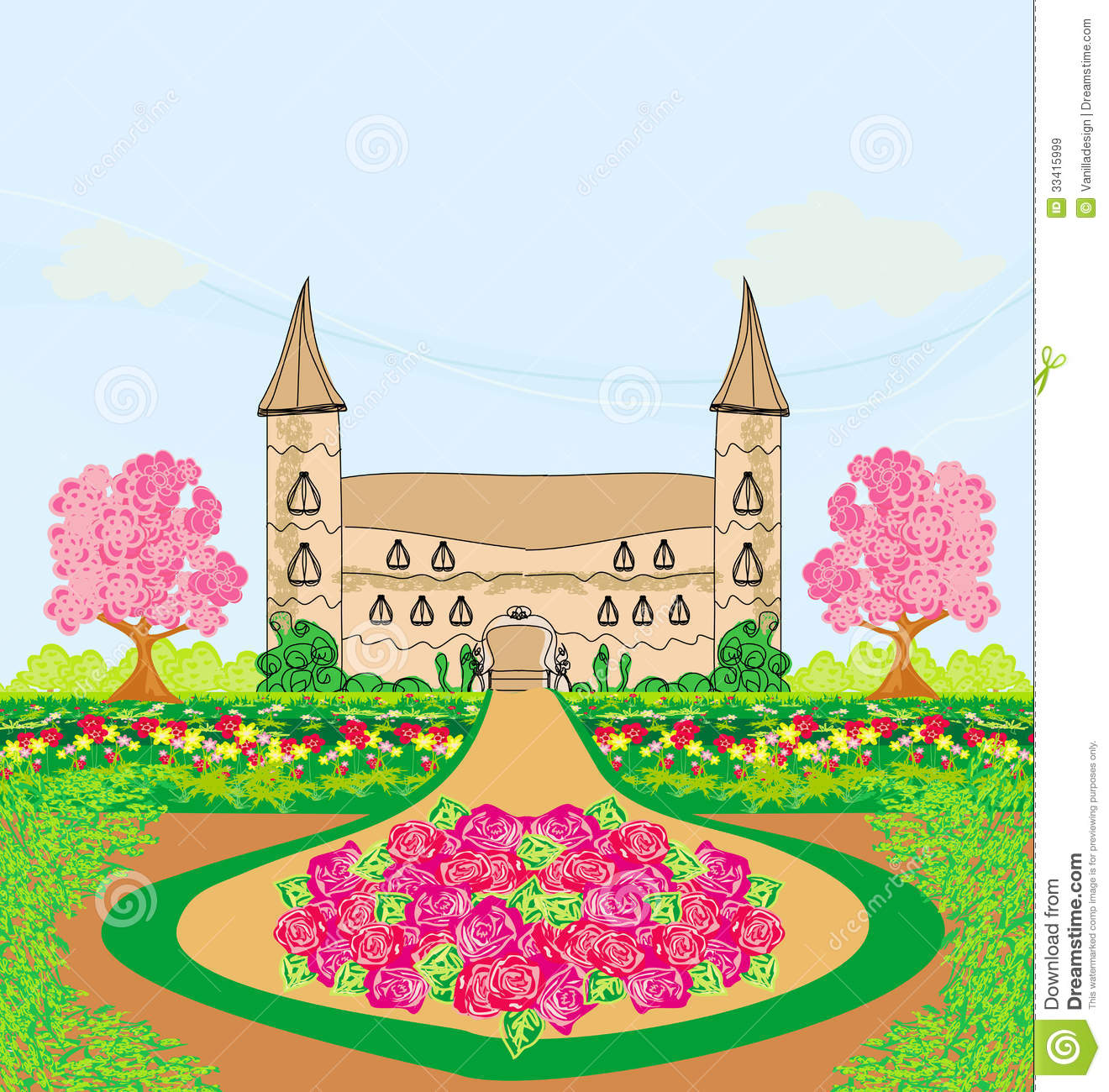 Landscape With A Beautiful Castle And Gardens Royalty Free Stock