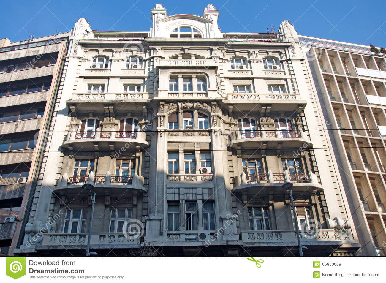 Landscape of beautiful and luxury clasic palace in Belgrade