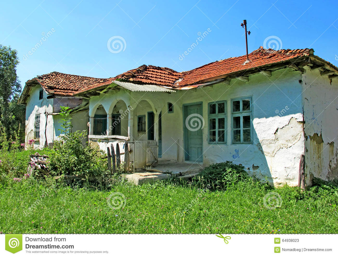 Landscape Of A Beautiful Old Traditional Country House