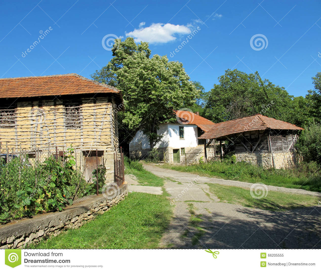 Landscape Of Beautiful Old Village Houses Stock Photo