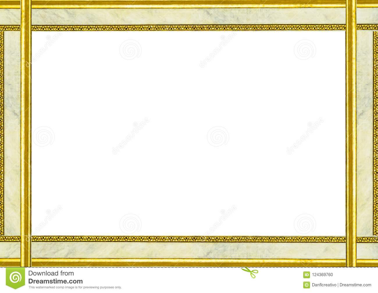 Landscape Blank Frame With Marble And Golden Decorated Edges Stock ...
