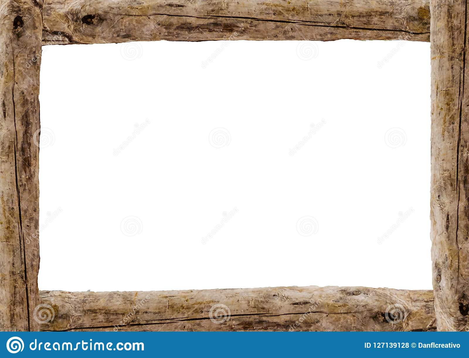 Landscape Blank Frame With Wooden Edges Stock Photo - Image of ...