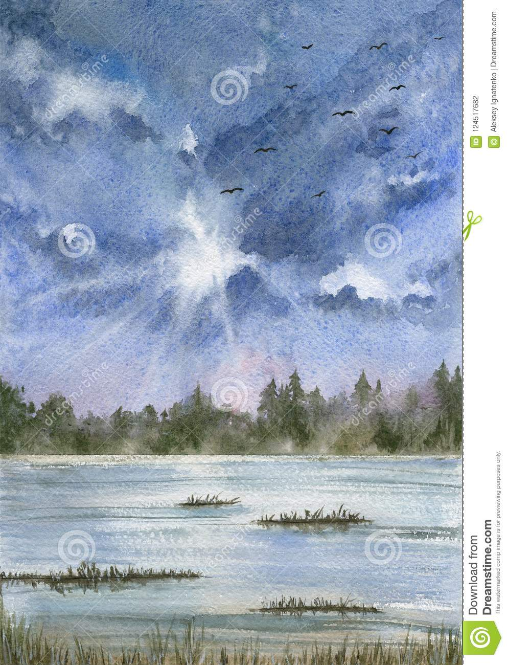 Landscape with blue cloudy sky, expanse of water and forest.