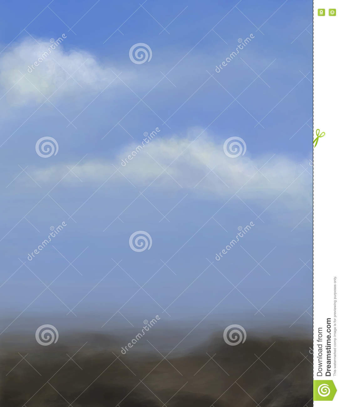 Landscape with blue sky and clouds.