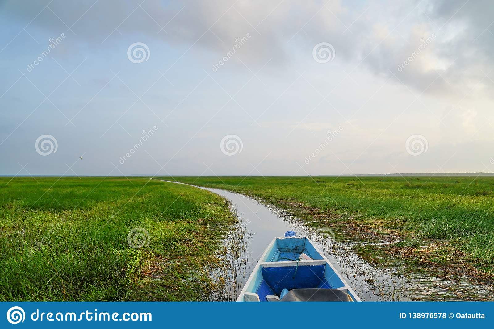 Landscape ,boat on the river, summer day .Copy Space Area.  royalty free stock photos