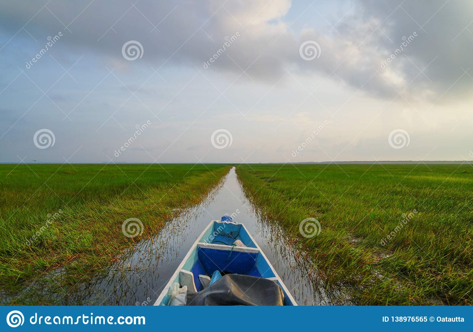 Landscape ,boat on the river, summer day .Copy Space Area.  royalty free stock photo