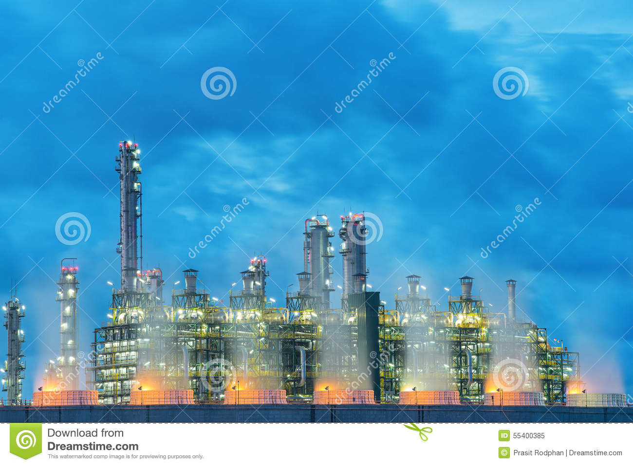 Landscape Boiler In Stream Power Plant At Night. Stock Image - Image ...