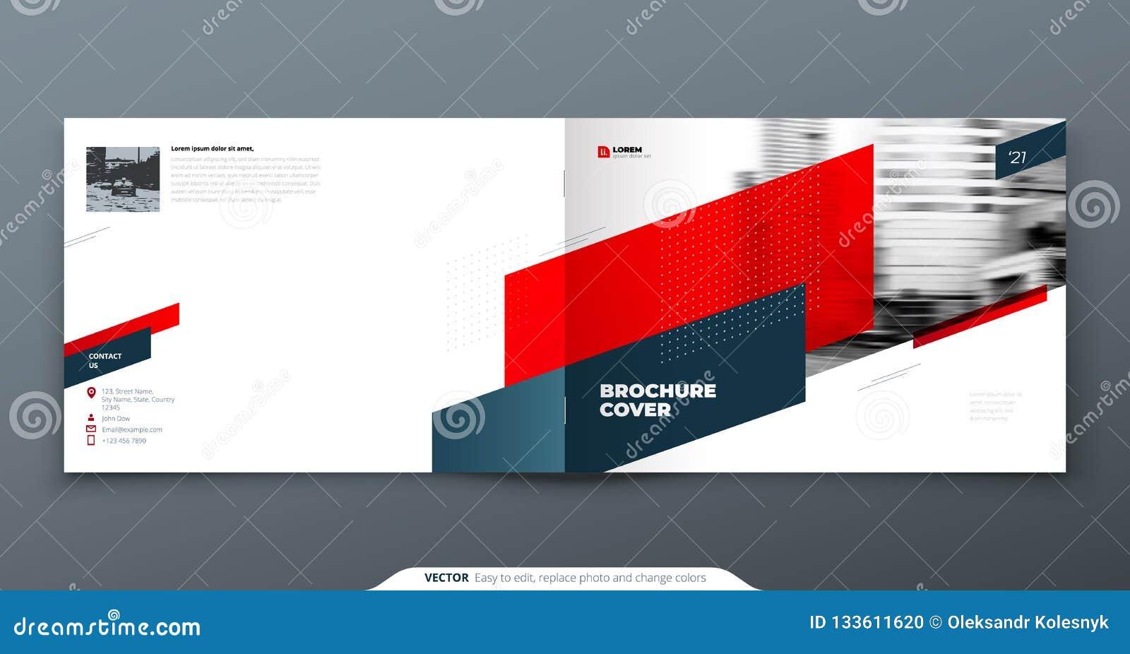 Landscape Brochure Design. Red Corporate Business Template ...