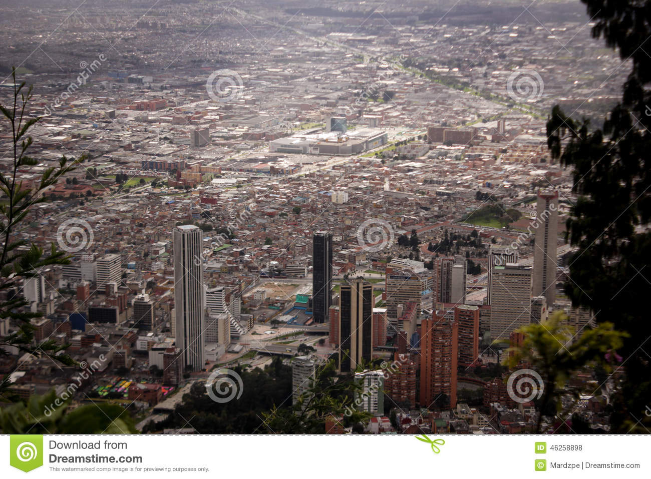 Landscape of the buildings of the downtown in Bogota, Colombia