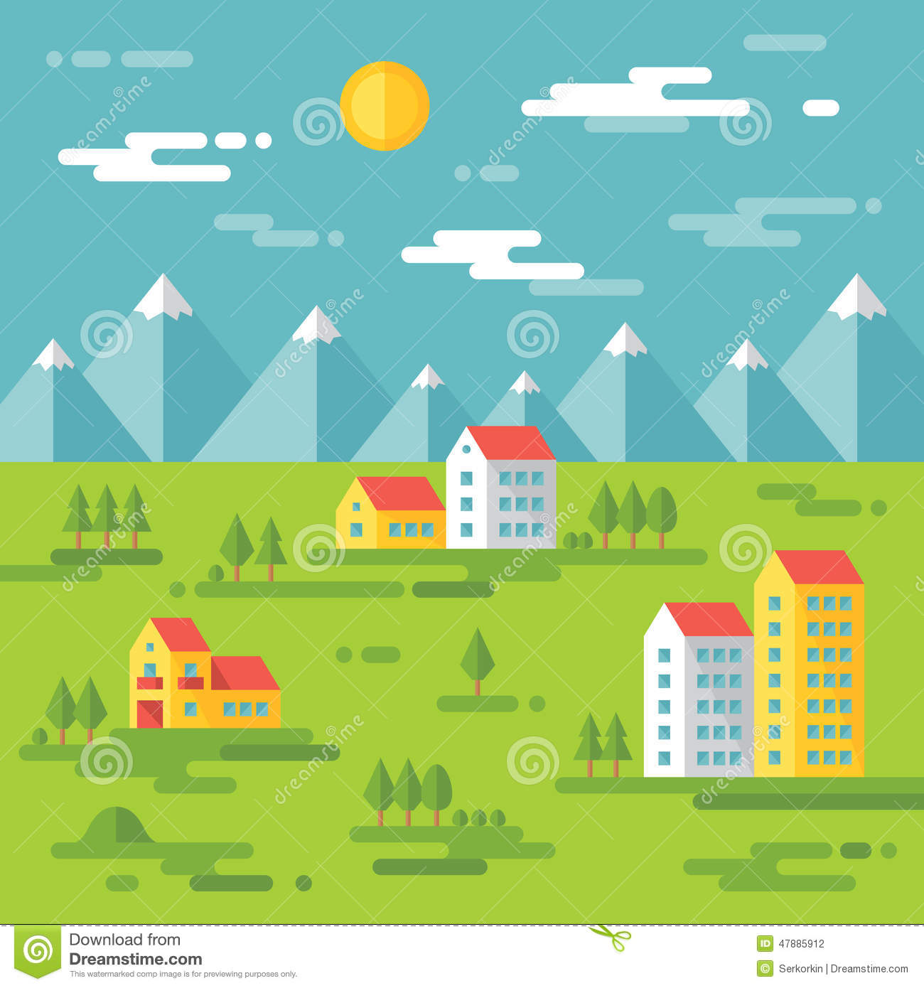 Landscape with buildings vector background illustration for Landscape design icons