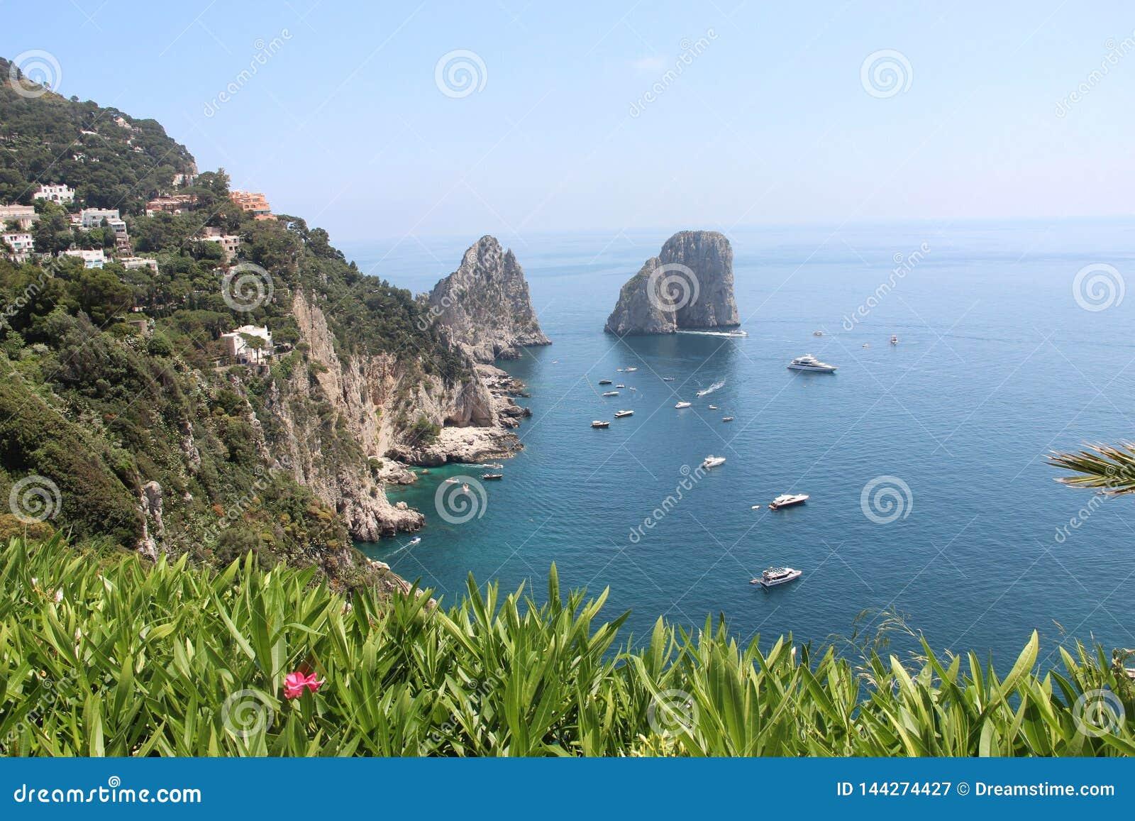 Landscape Capri island spring beautiful nature Italy