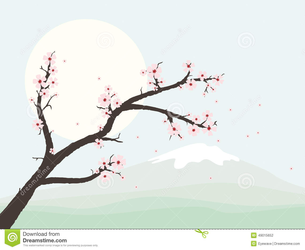 Landscape with cherry blossom branch vector illustration