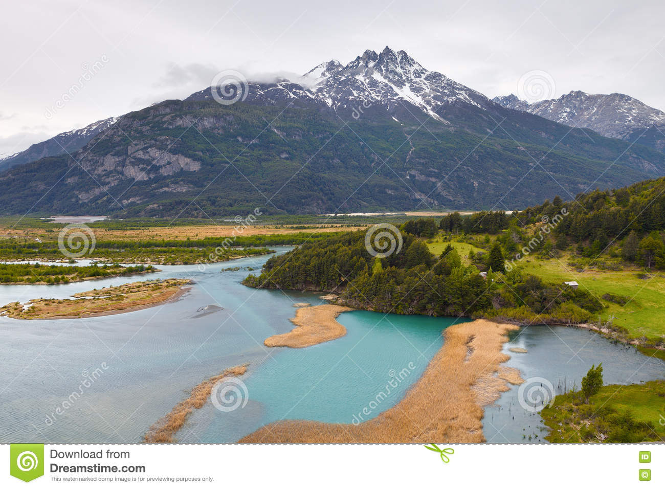 Landscape of chilean Patagonia, with meadows, the river Ibanez a