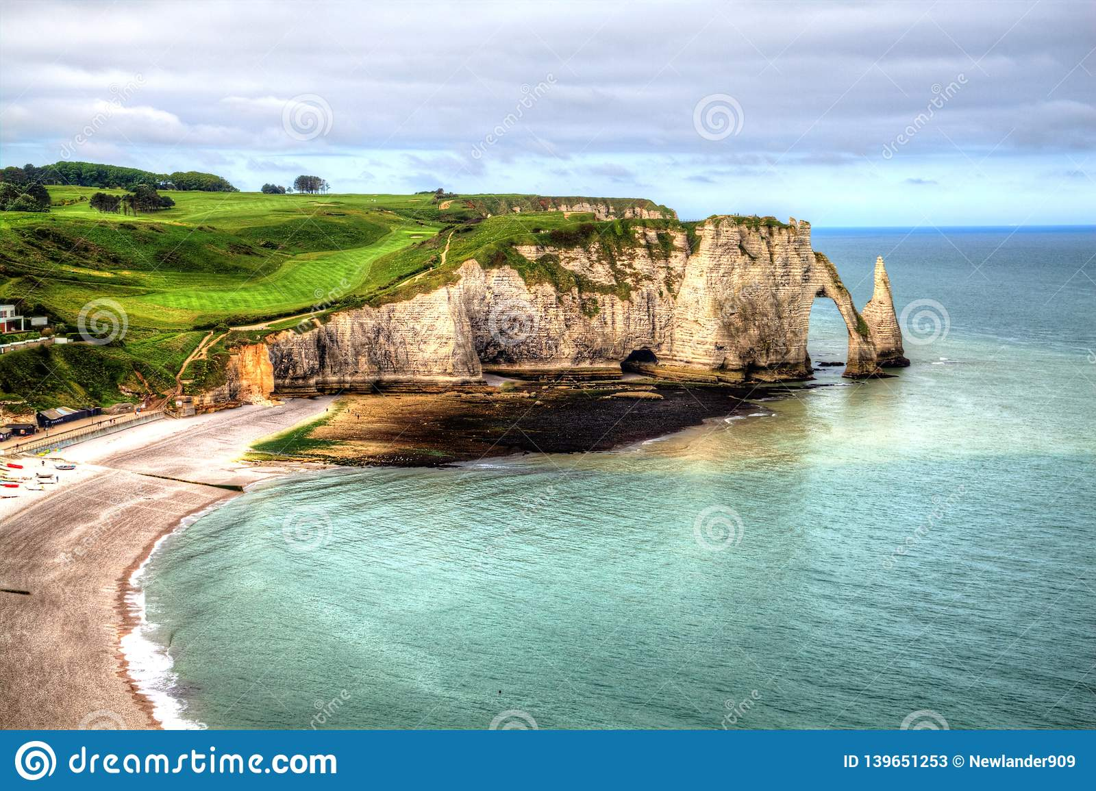Landscape On The Cliffs Of Etretat Normandy France Stock Image