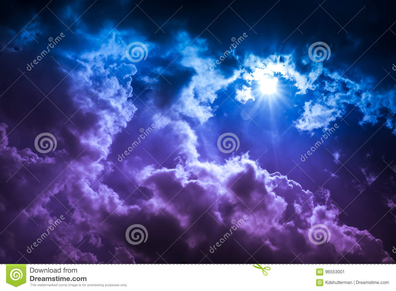 Landscape of cloudscape background. Colorful sky with sunbeam in