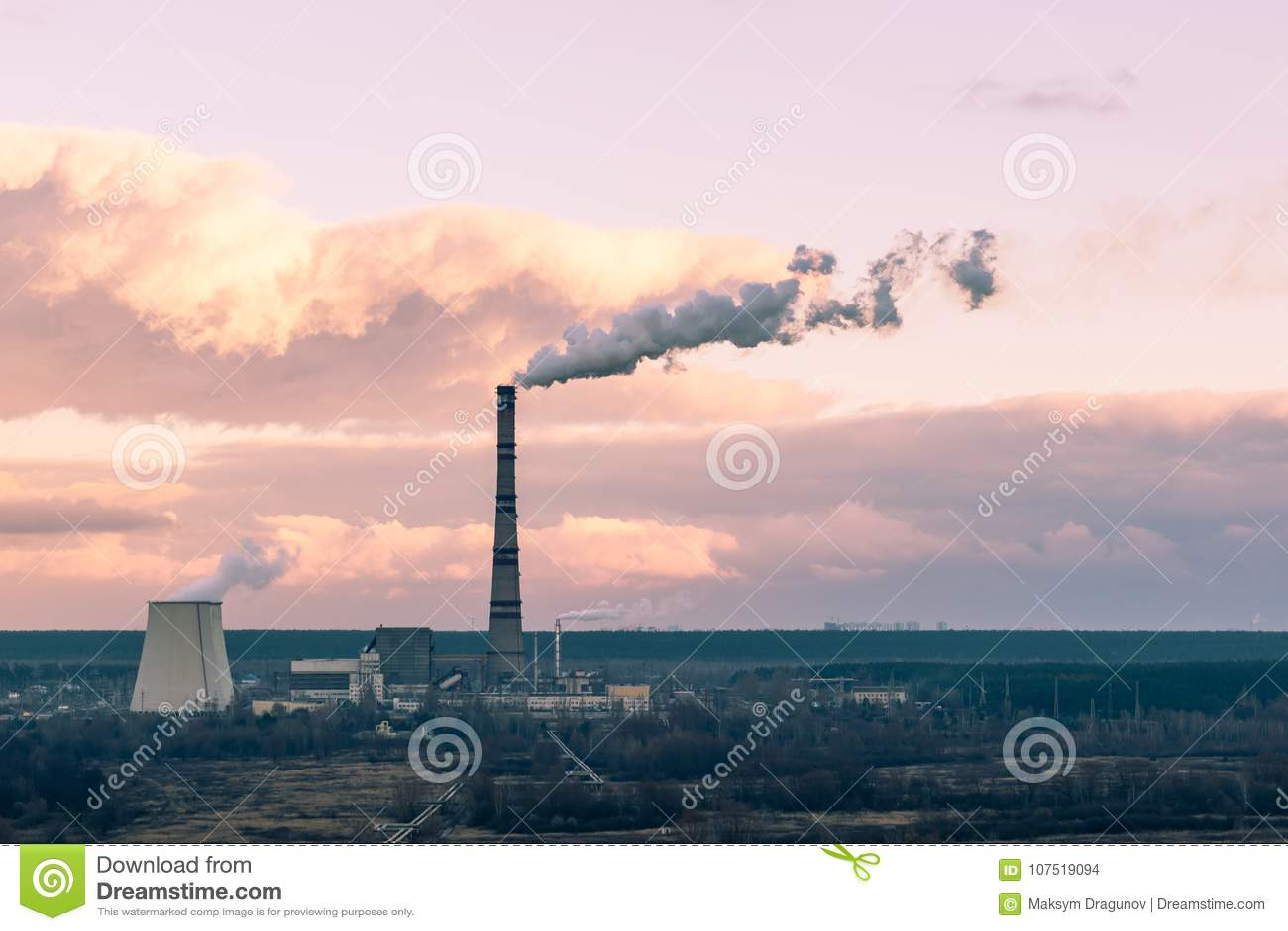 Heat Power Plant On Autumn Sunset Stock Photo - Image of
