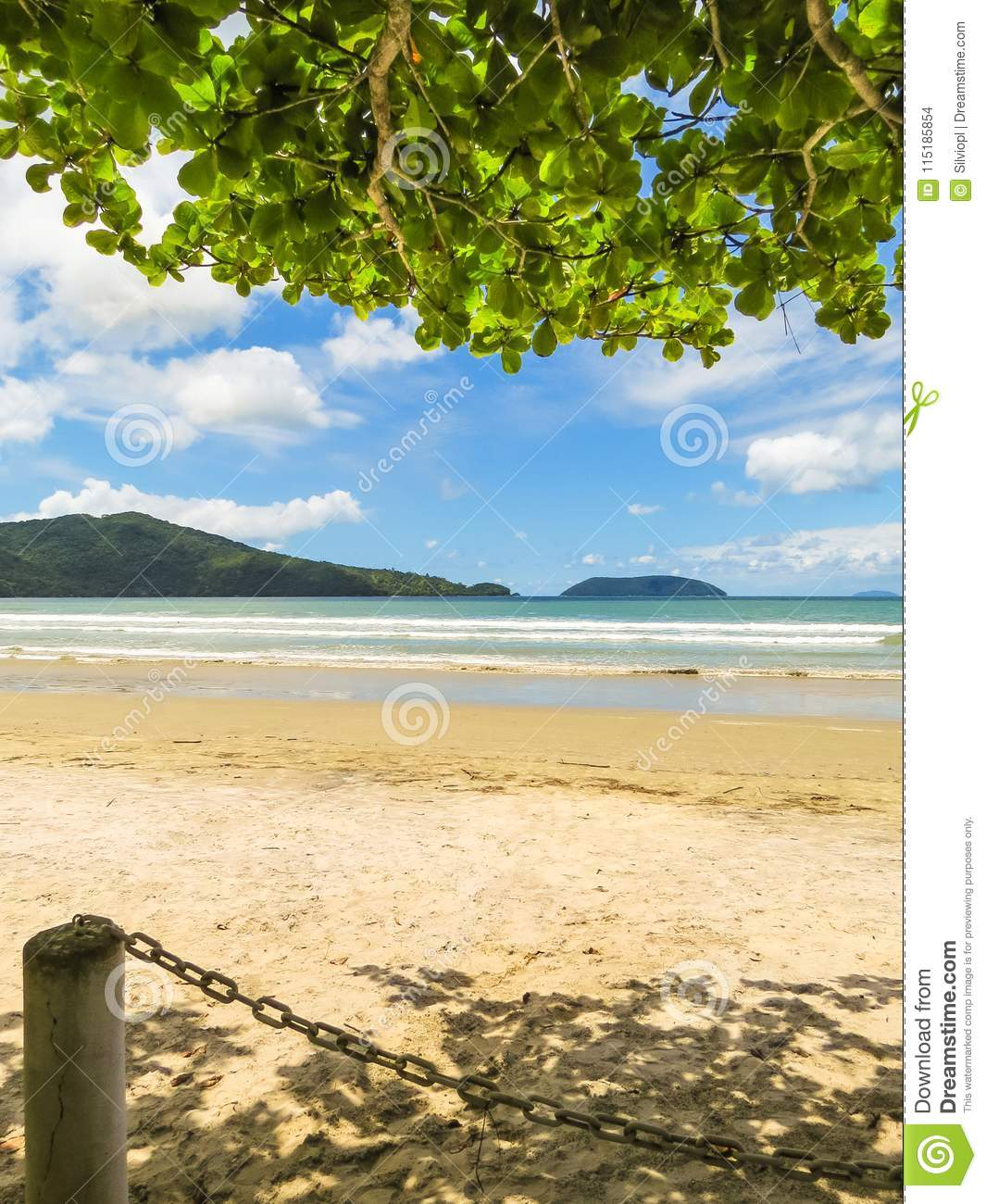 Deserted Island Beach: Landscape Of Deserted Beach With Island In The Background