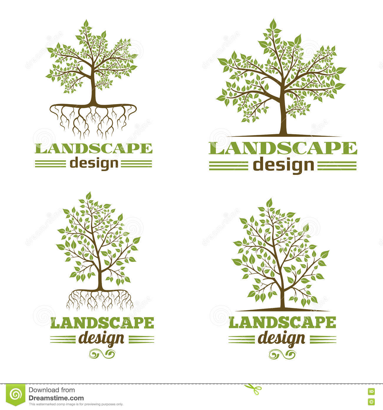 Tree roots logo cartoon vector 34346189 for Landscape design company