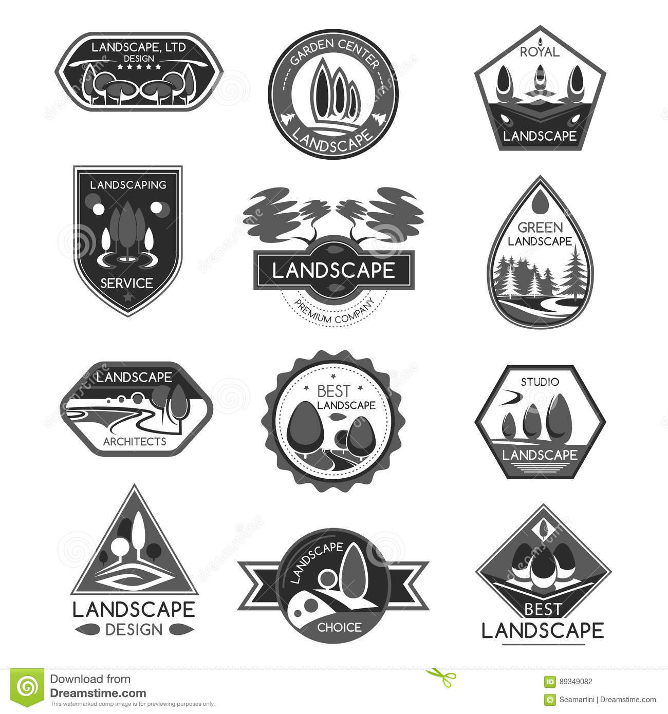 Landscape design company vector icons set stock vector for Landscape design icons