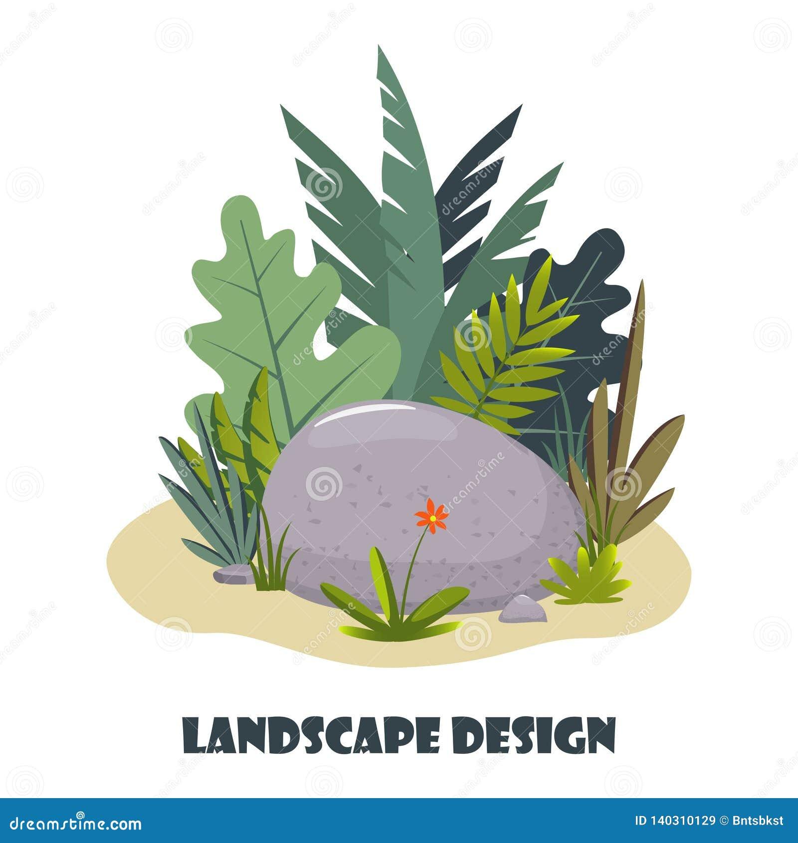 Landscape Design Composition With Plant And Stones Cute Floral Composition For Greeting Card Banner Flyer App Website On Stock Illustration Illustration Of Flora Design 140310129
