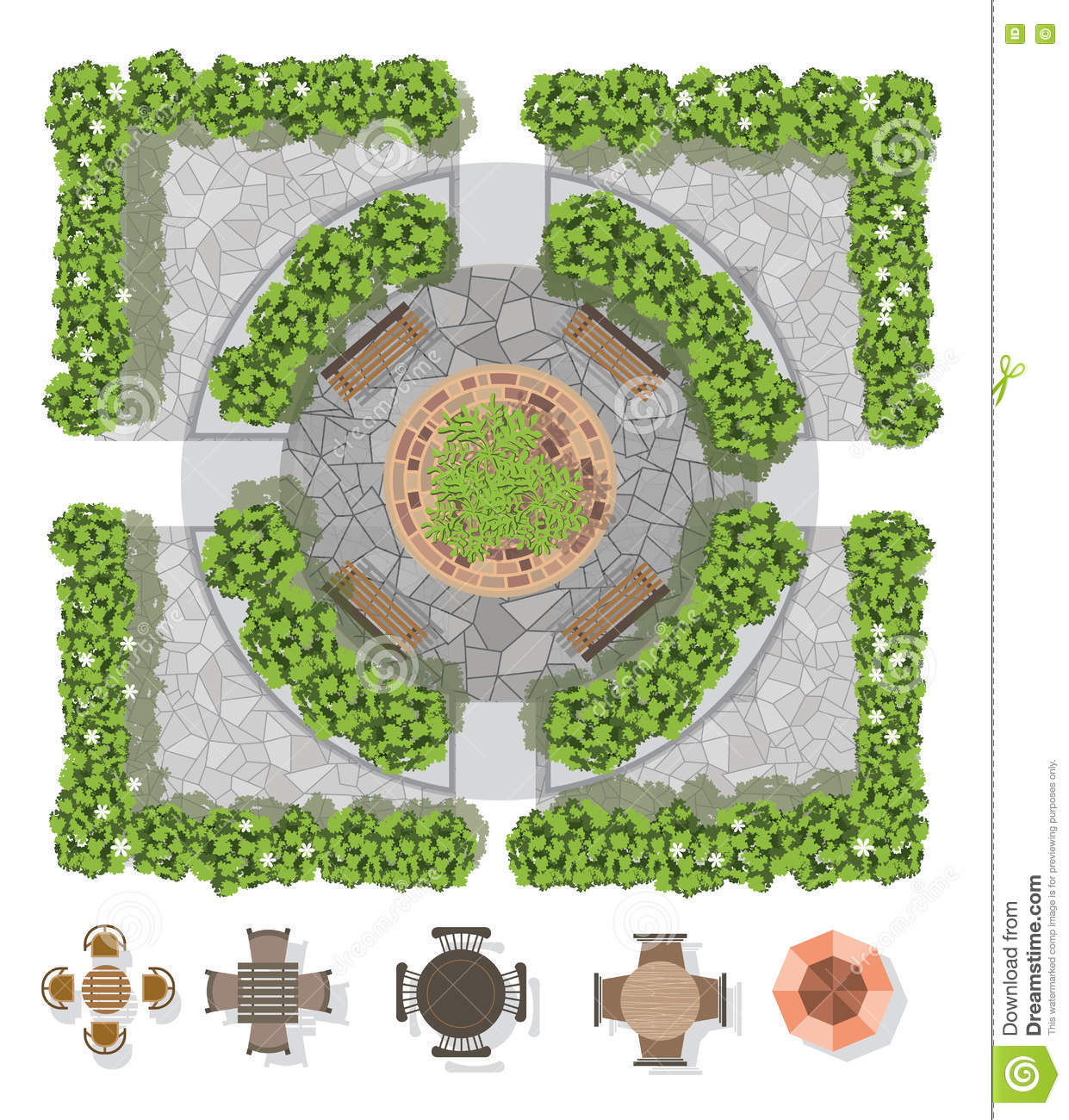 Landscape design composition with top view gardening stock for Garden pond design software free download