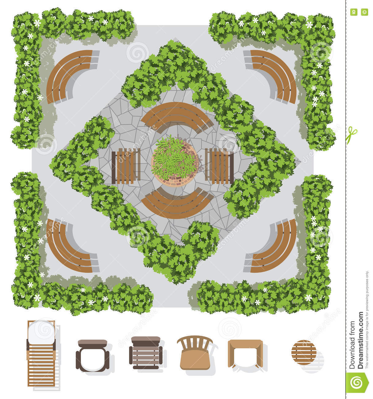 Landscape Design Composition With Top View Gardening