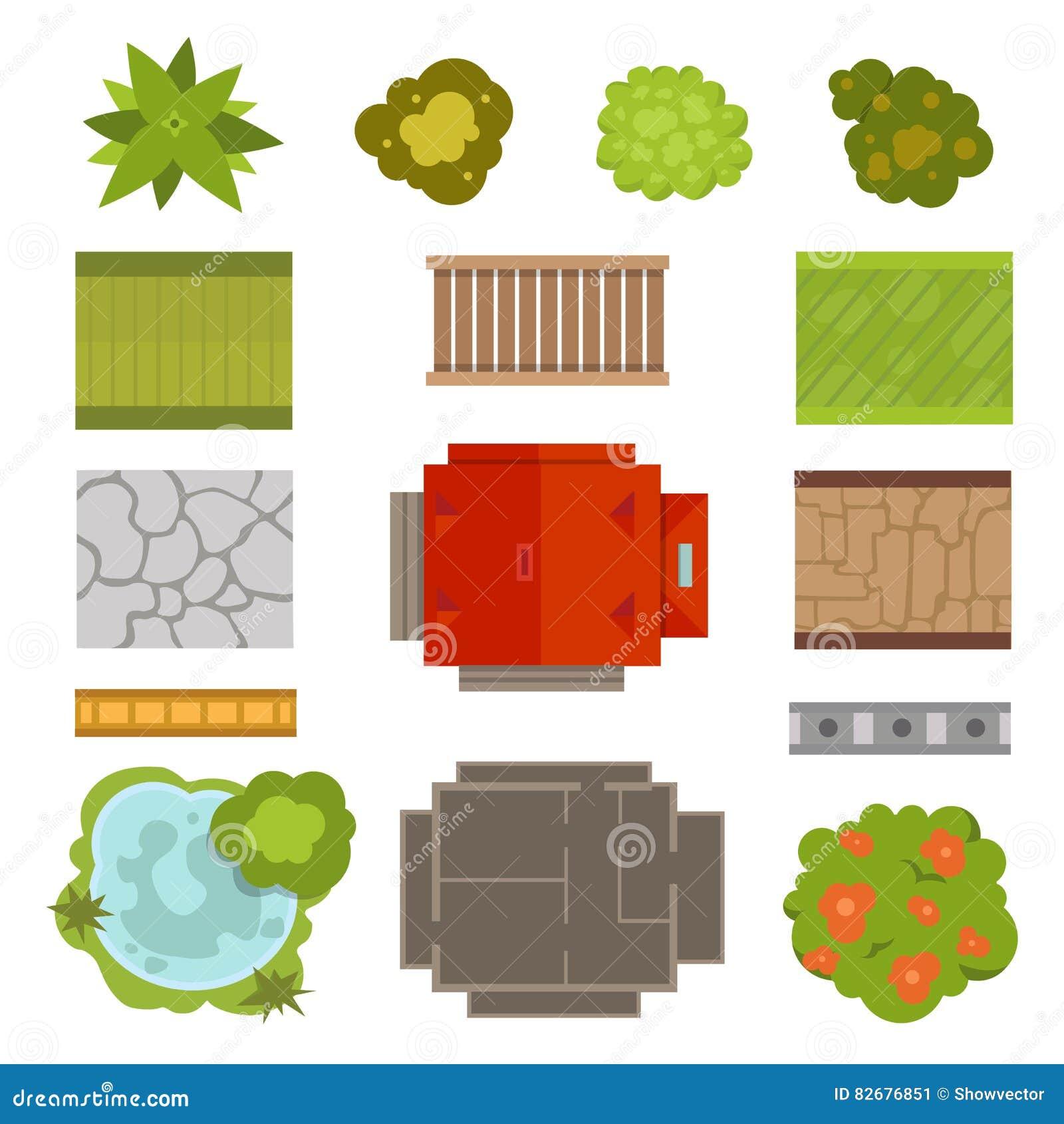 Garden chair top view - Landscape Design Constructor Vector Set Stock Image