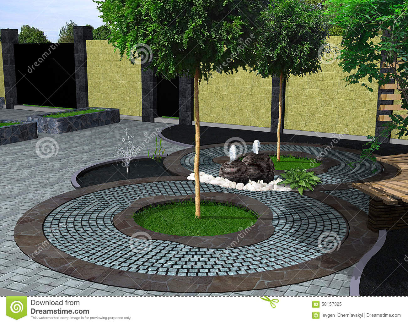 Landscape design decorative fountain 3d render stock for Landscape design site