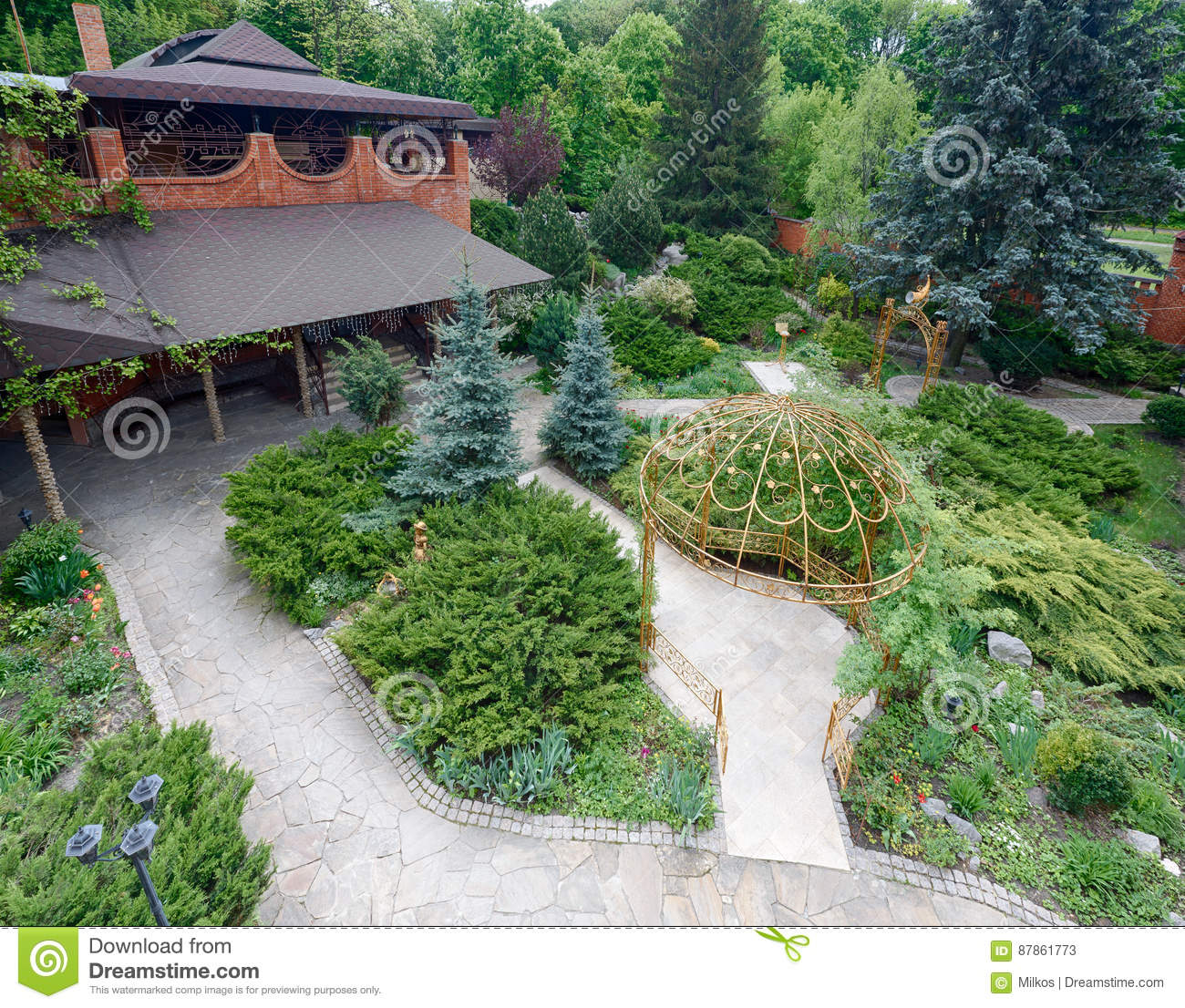 Landscape Design Evergreen Bushes And Path Stock Image Image Of