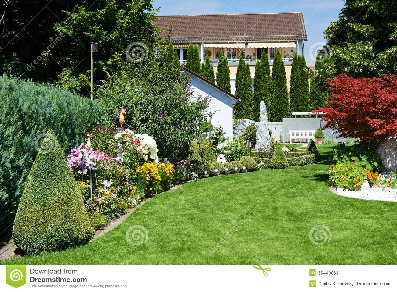 Landscape design of garden with grass and flowers stock for Green landscape design