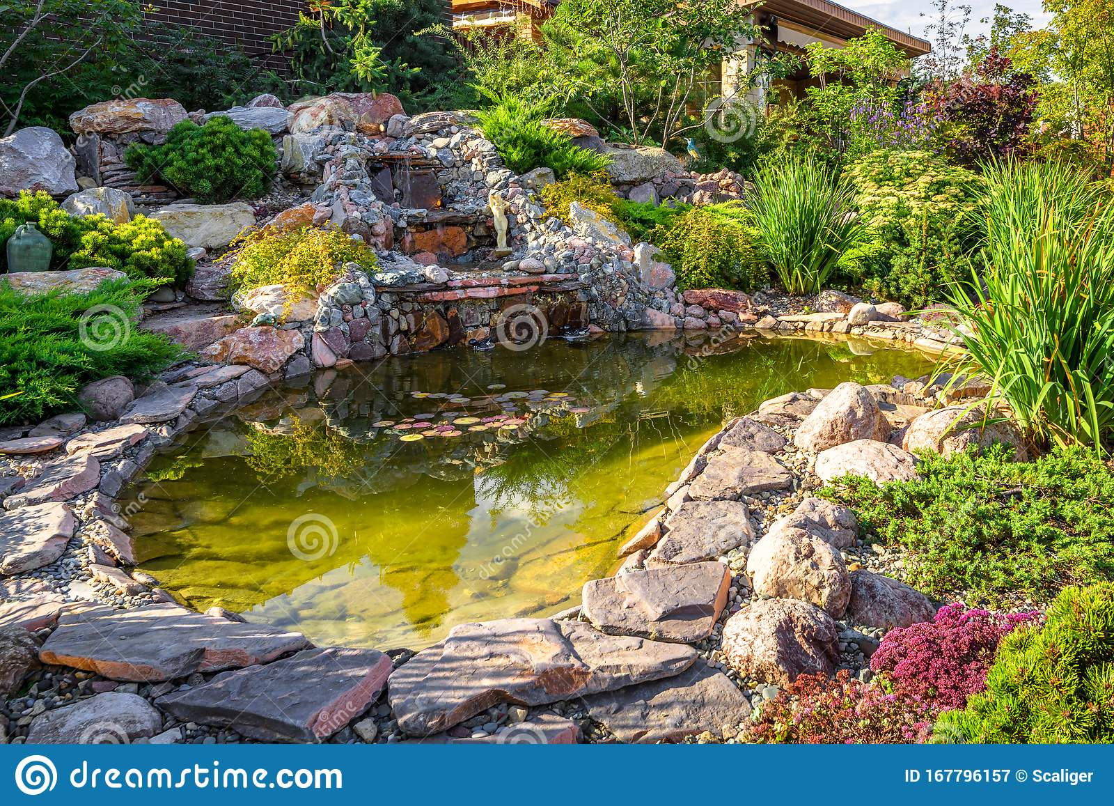 Landscape Design Of Home Garden Close Up Beautiful Landscaping