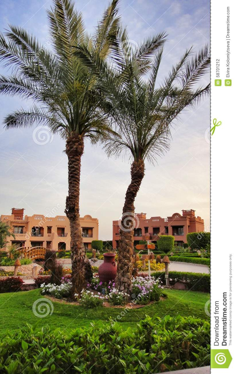 Landscape design in hotel of egypt editorial photography for Hotel landscape design