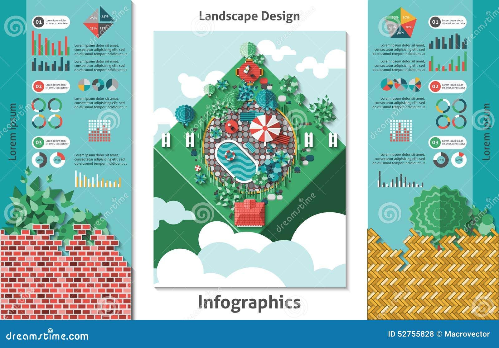 Landscape Infographics Lake And Hills Hiking Cartoon