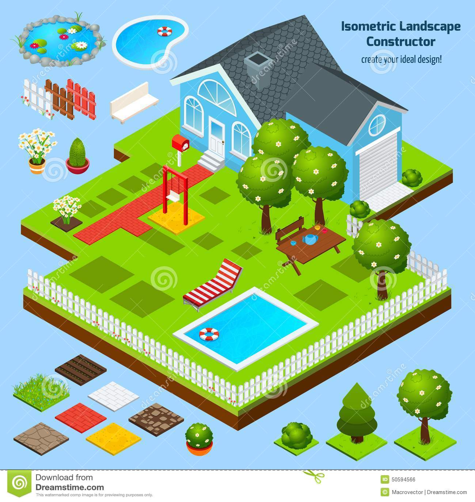 Landscape design isometric stock vector image 50594566 for Garden design elements