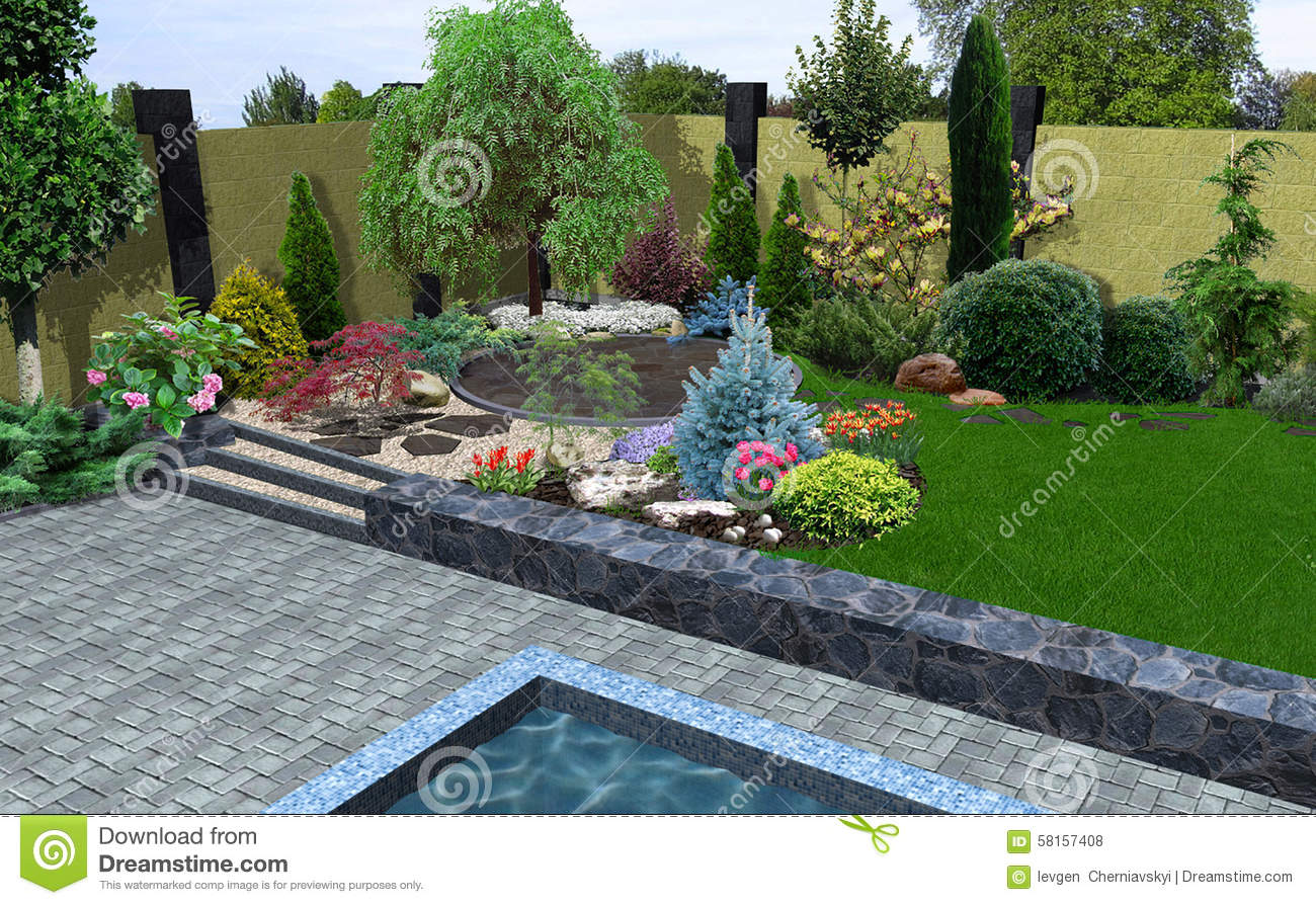 Landscape design plant groupings 3d render stock for Plant garden design