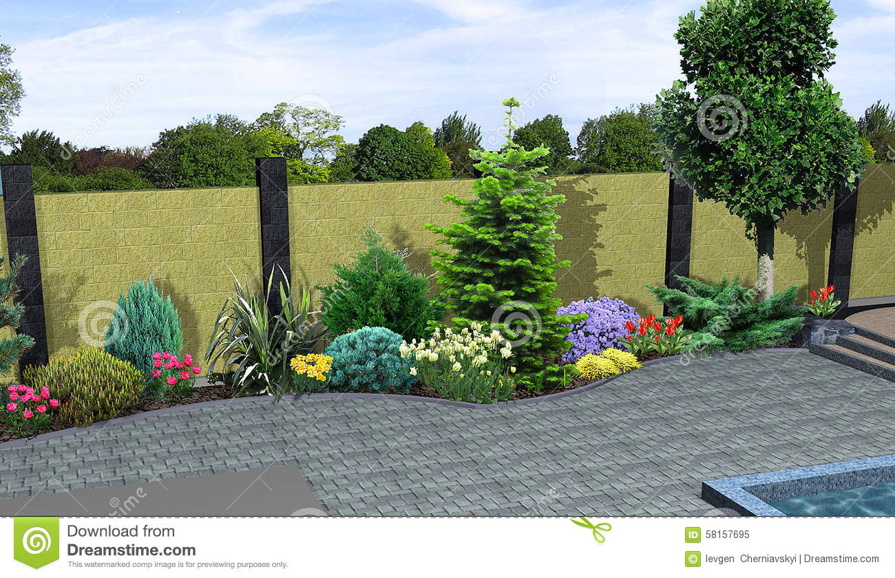 Landscape design plants grouping 3d render stock for Plant garden design