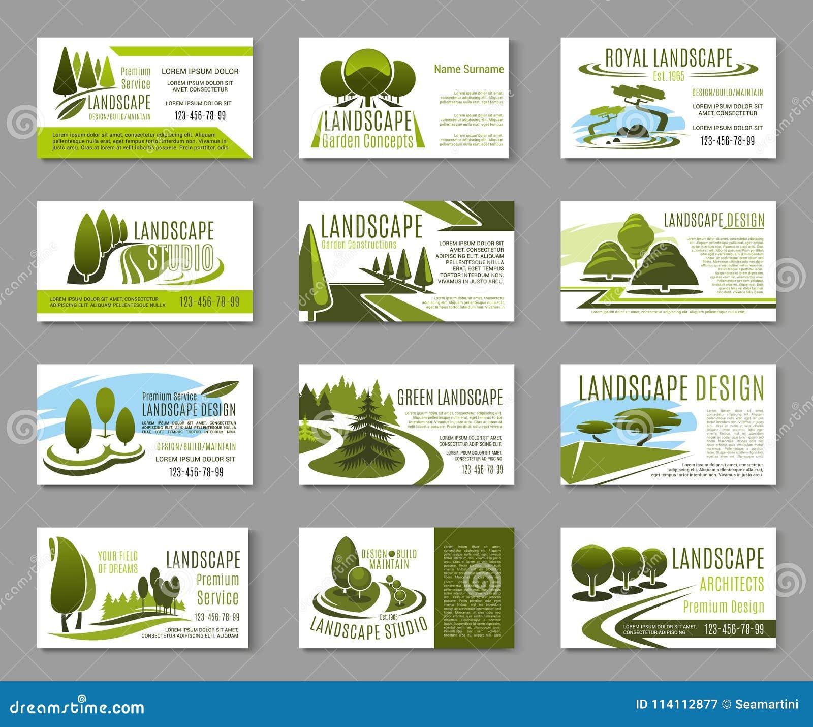 Landscape design studio business card template stock vector landscape design studio business card template accmission Images