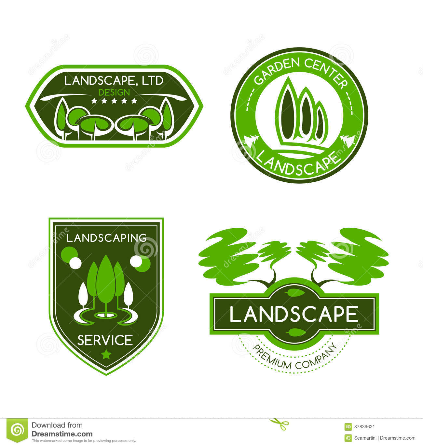 Landscape Design Studio Label Set Stock Vector Illustration Of Identity Organic 87839621