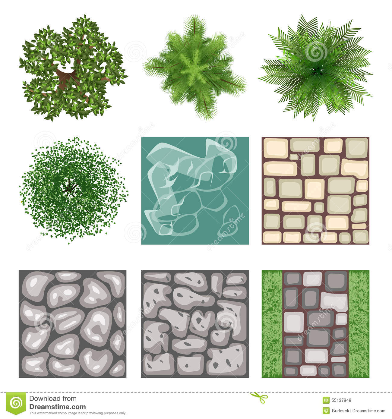 Landscape design top view vector elements stock vector for Landscape design icons