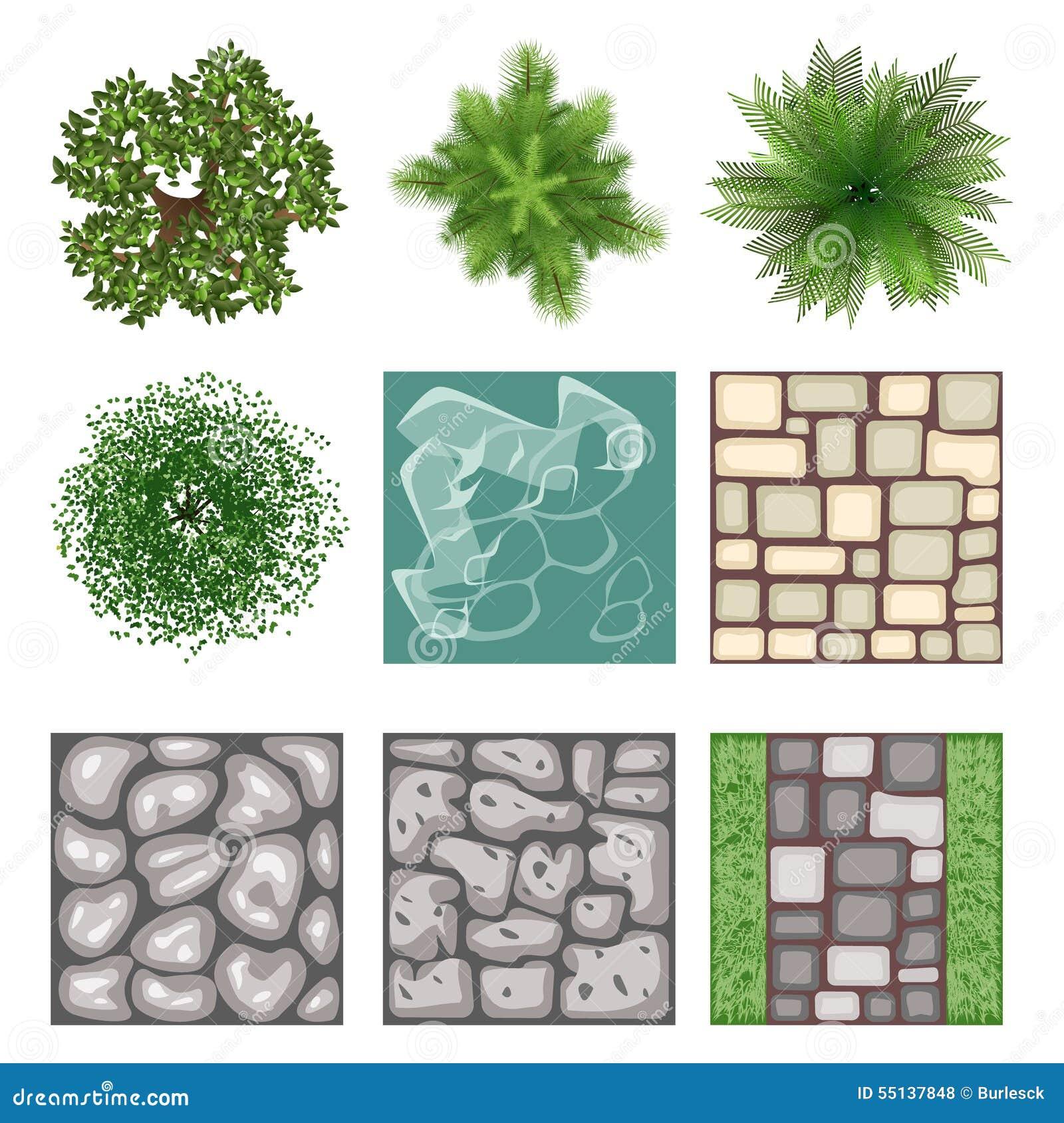 Landscape design top view vector elements stock vector for Garden design elements