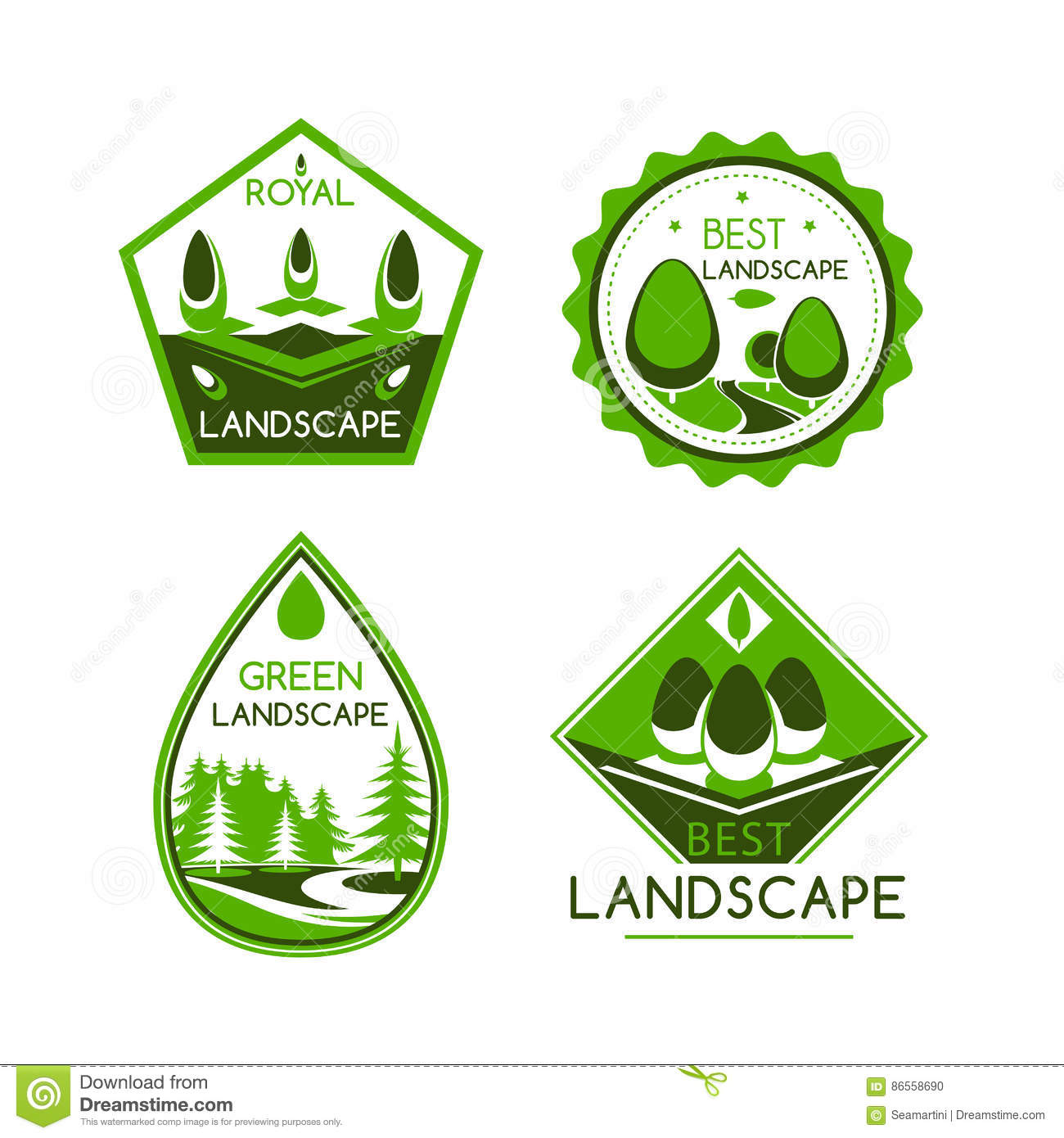 Landscape design vector icons or emblems set stock vector for Landscape design icons