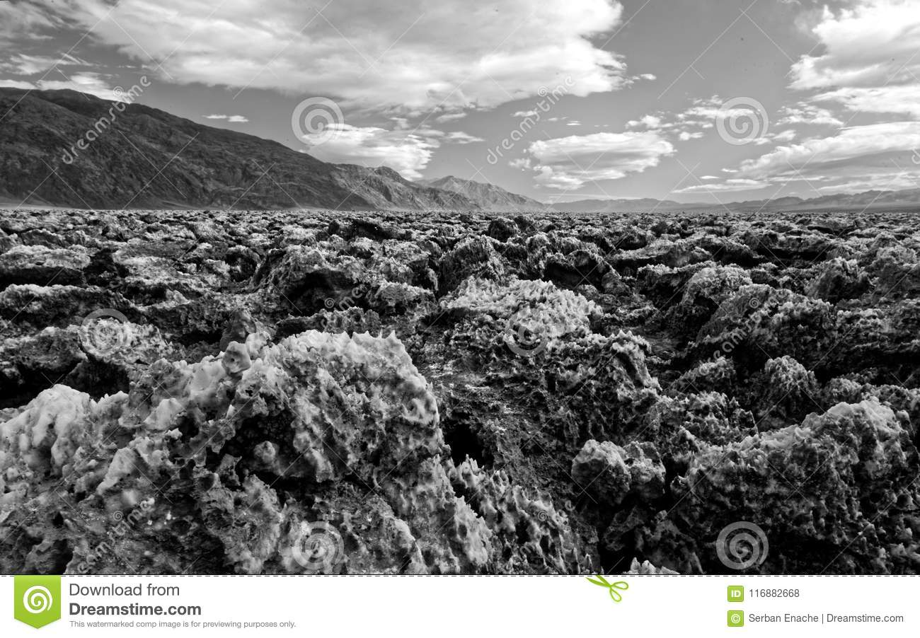 Landscape of Devil s Golf Course, Death Valley National Park, California in black and white