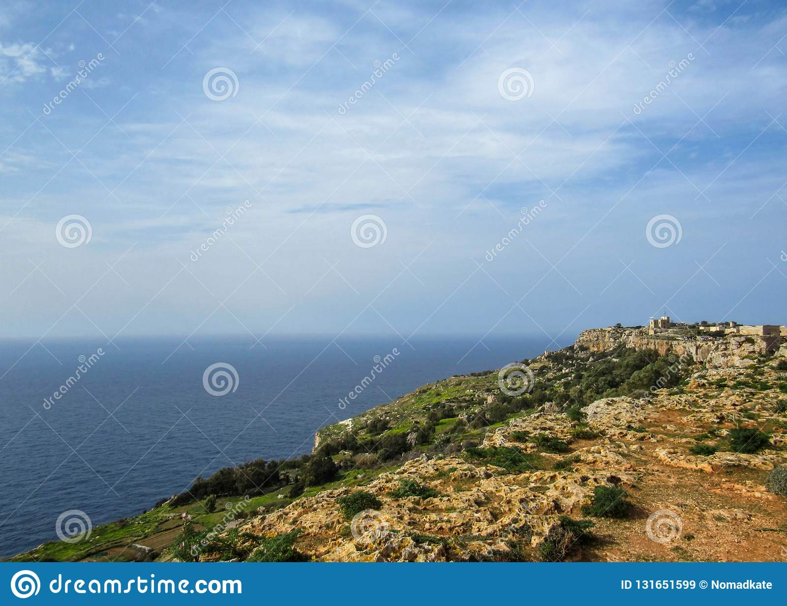 Landscape with Dingli cliffs and majestic views of the Mediterranean sea and the lush countryside, Malta