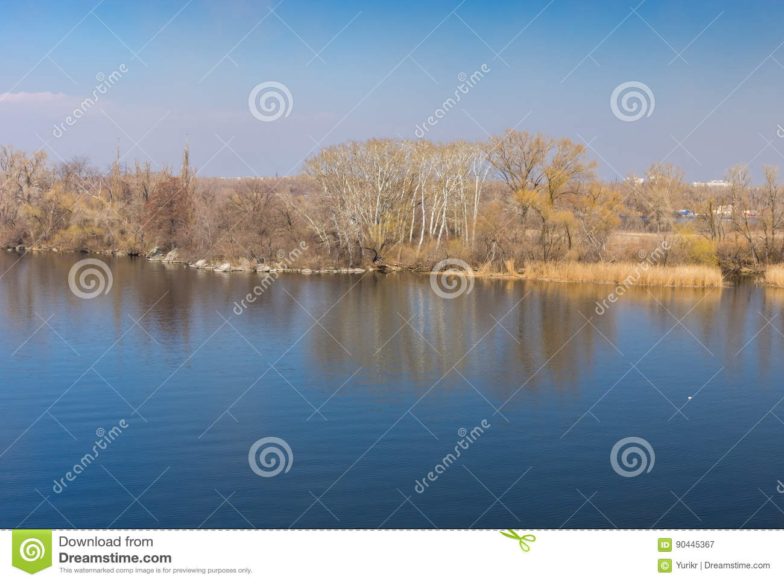 Landscape with Dnepr river near Dnepr city, Ukraine