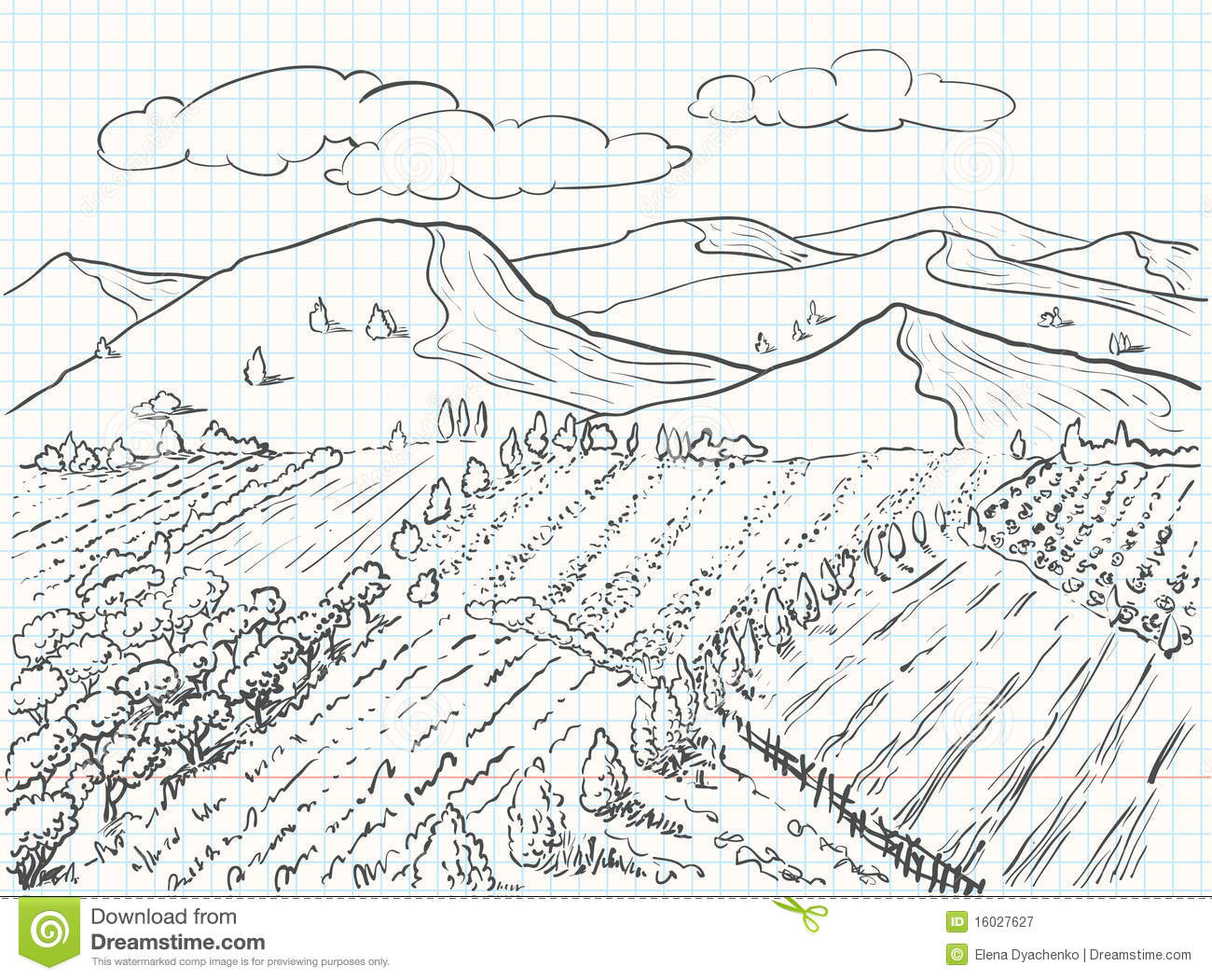 Landscape Drawing Royalty Free Stock Photography Image