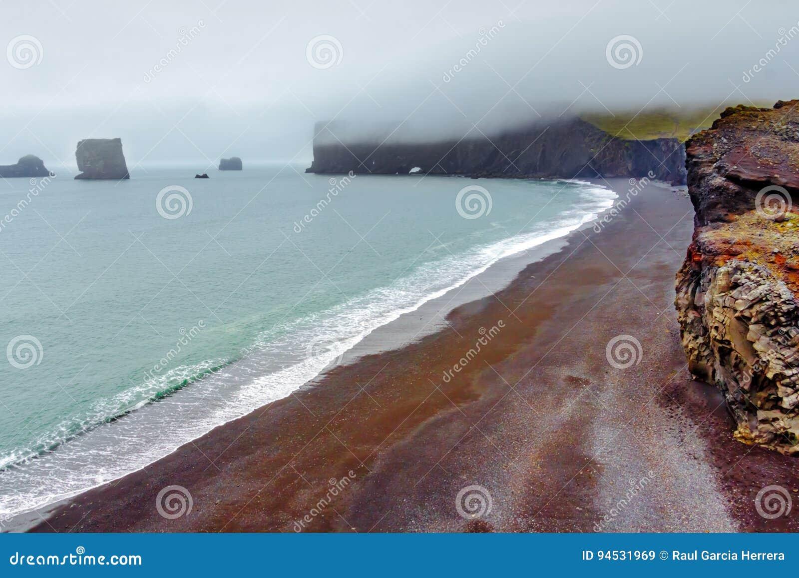 Landscape of Dyrholaey cape, volcanic sand beach, South Iceland.