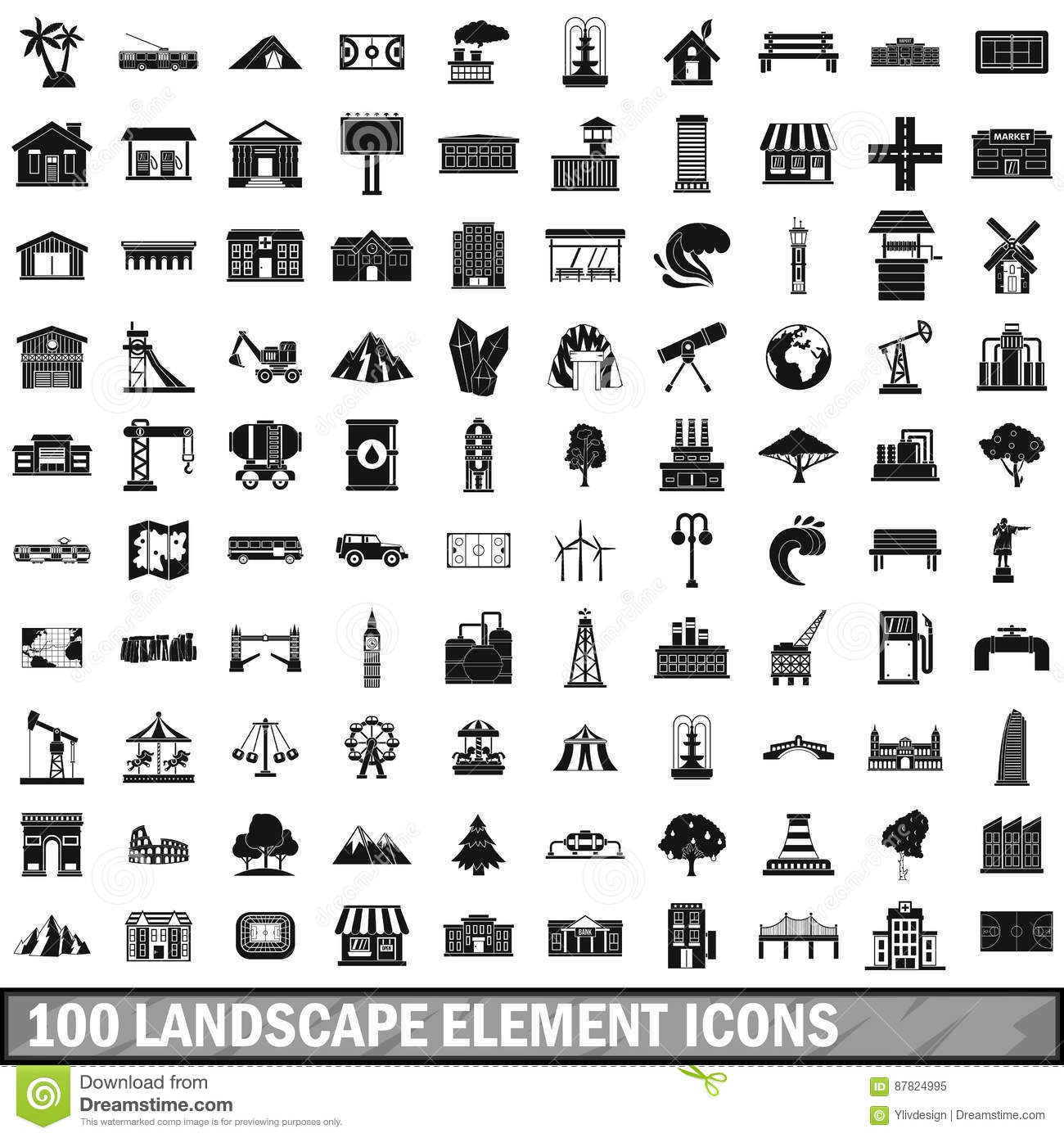 Watermill cartoons illustrations vector stock images for Landscape design icons