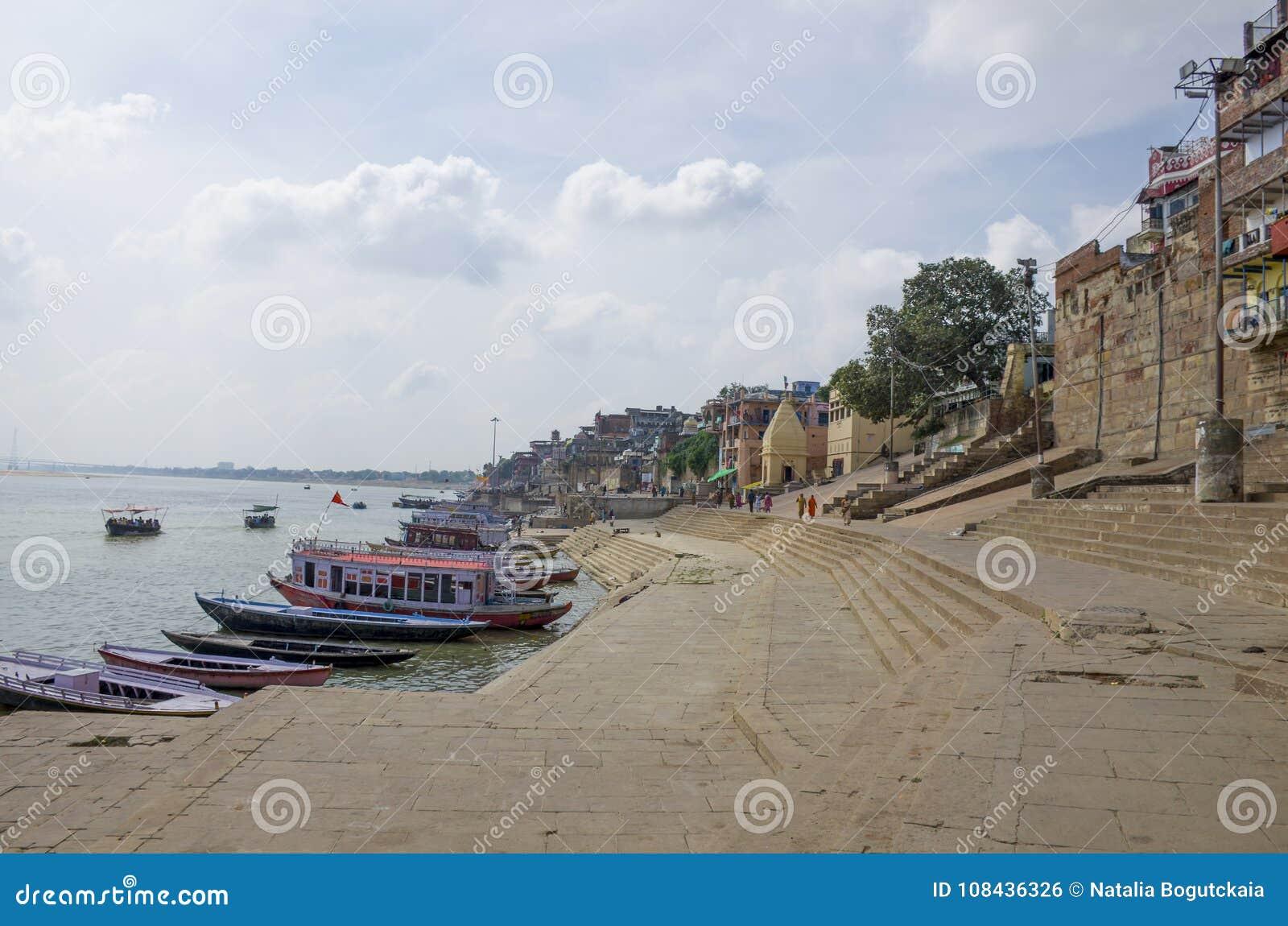 Landscape embankment city of Varanasi Gang River India