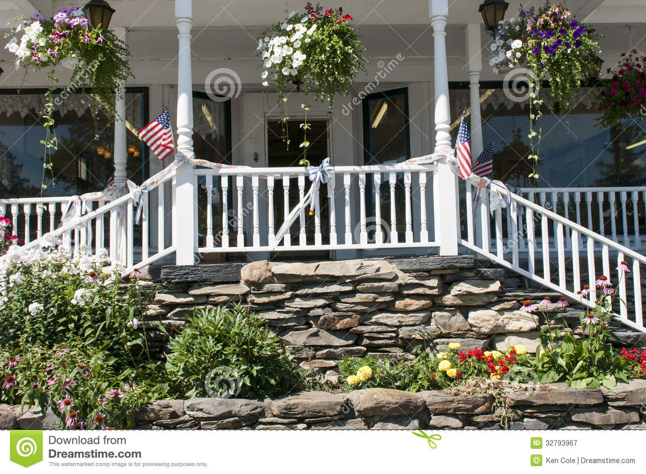 Landscape flowers and porch steps royalty free stock for The country porch com